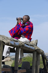 Masai man, over a car, watching the horizon with binoculars.