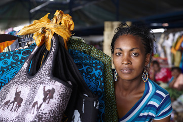 Young woman, working in a street market in Nairobi