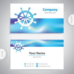 business card - business card - steering wheel rudder