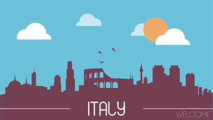 Italy skyline silhouette flat design vector