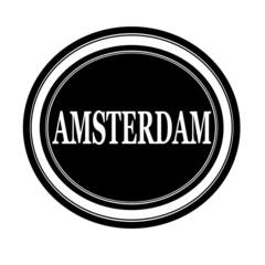 Amsterdam white stamp text on black