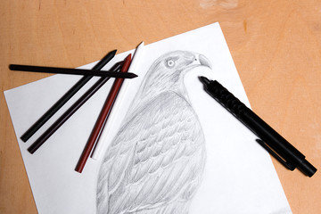 Clutch pencil with graphite drawing hawk.