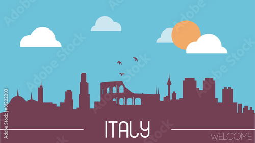 Italy skyline silhouette flat design vector