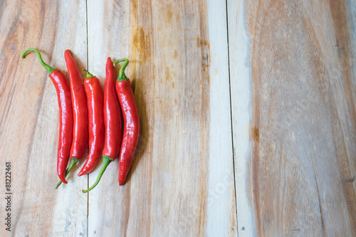 red hot chili peppers on white wooden