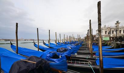 Gondolas in Venice, on Grand canal