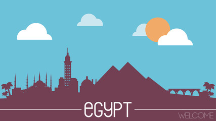Egypt skyline silhouette flat design vector illustration