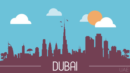 Dubai UAE skyline silhouette flat design vector illustration