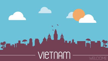 Vietnam skyline silhouette flat design vector