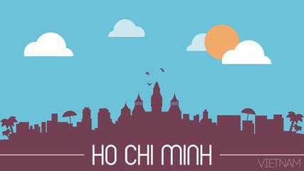 Ho Chi Minh Vietnam skyline silhouette flat design vector