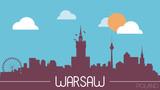 Warsaw Poland skyline silhouette flat design vector