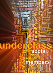 Underclass wordcloud concept illustration glowing