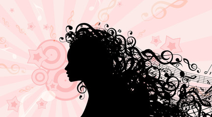 Silhouette of Woman's head with Music Hair. Stock Vector