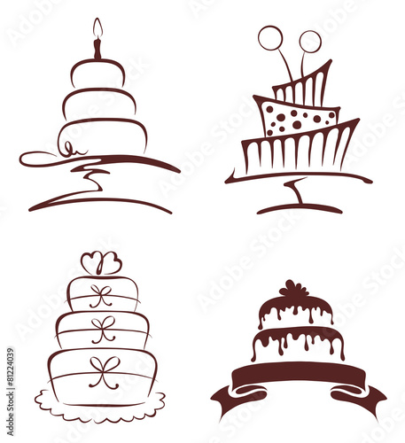 Set of abstract cakes - 81224039