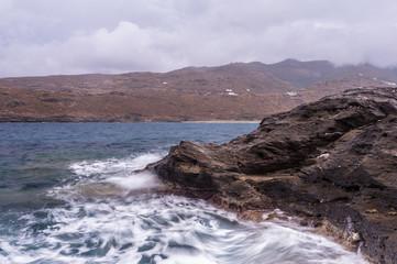 Sea during the rain