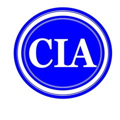 Cia white stamp text on blue