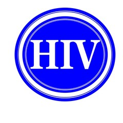 HIV white stamp text on blue