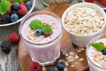 delicious berry smoothies with oatmeal in a glass