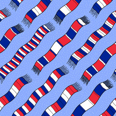Winter background with France Flag Scarves. Seamless vector patt