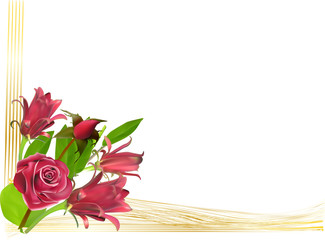 red flowers in gold corner isolated on white