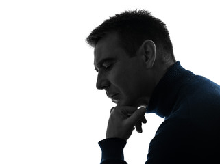 man serious thinking pensive silhouette portrait