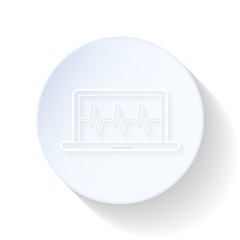 Car diagnostics computer thin lines icon