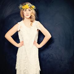 Fashion  Woman wear white dress