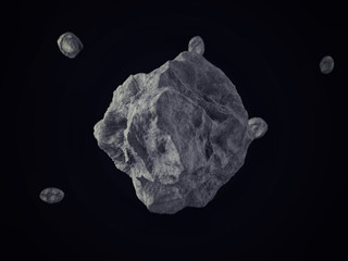 Meteorites/Rocks floating on outer space with pop up effect