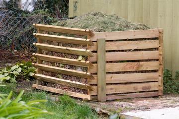 Compost bin in garden