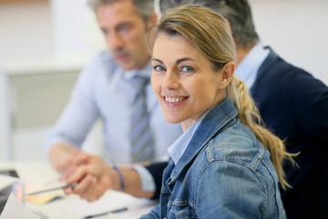 Portrait of businesswoman meeting in office