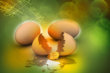 3d multi use broken egg with dollar coin in white background
