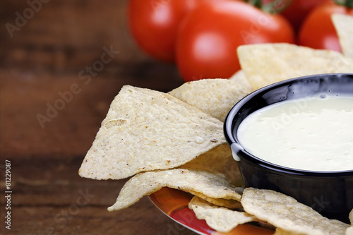 Bowl of Queso Blanco White Cheese Sauce - 81229087