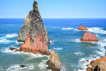 Volcanic rocky formations on Ponta de Sao Lourenco, Madeira