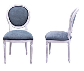 gray chairs with white wooden frames on white background