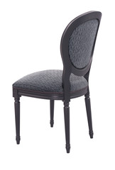 black sitting chair with balck wooden frame on white background