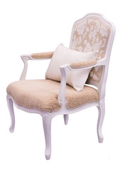 elegant ivory armchair with a pillow on a white background
