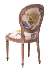 brown wooden chair with floral print on a white background