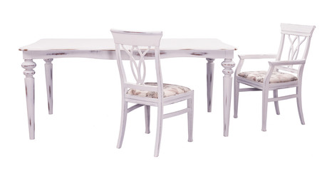 white rustic wooden dining table with chairs on white background