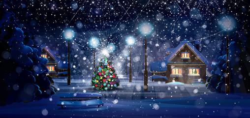 Winter night scene. Merry Christmas!