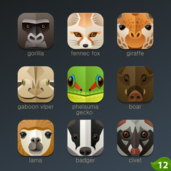 Animal faces for app icons-set 12