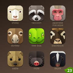 Animal faces for app icons-set 23