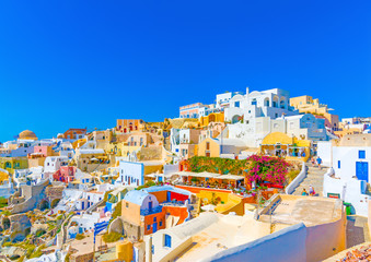 View of Oia village in Santorini island in Greece