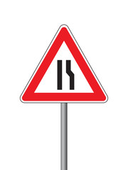 Road narrow sign on the right