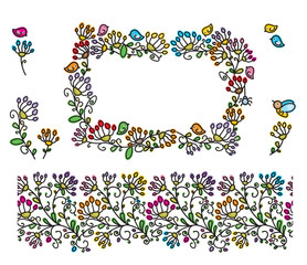 Vector floral frame, seamless  pattern and elements for design.
