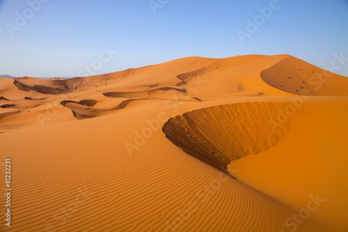 Foto op Plexiglas Marokko large dunes in the Sahara deformed by the wind, Morocco