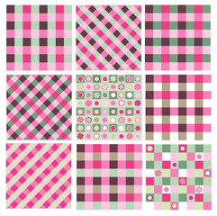 Vector set  checkered seamless patterns, pink and green colors.