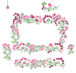 Vector set floral frame and  design elements  pink and green col