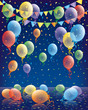 Birthday card, colored balloons background