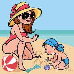 Funny cute cartoon baby and mom playing on the beach.Vector illu