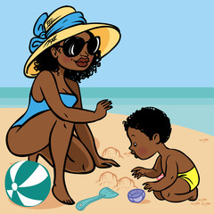 Funny cute cartoon african baby and mom playing on the beach.Vec