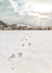 foot steps trails at snow in winter